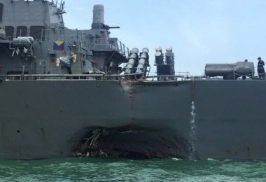 Another Naval Collision In Asian Seas - USS John S McCain Gets Hit By Oil Tanker Near Singapore